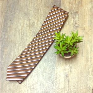 Brown black and white striped Stafford tie